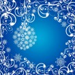 Royalty-Free Stock Vector Image: Christmas balls covered with snowflakes on a dark blue background.