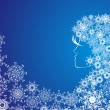 Christmas girl with snowflakes in hair - Stock Vector