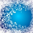 Christmas background with frozen window and floral ornate. Decorative winter grunge background. - Stock Vector