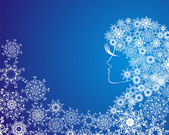 Christmas girl with snowflakes in hair — Stock Vector