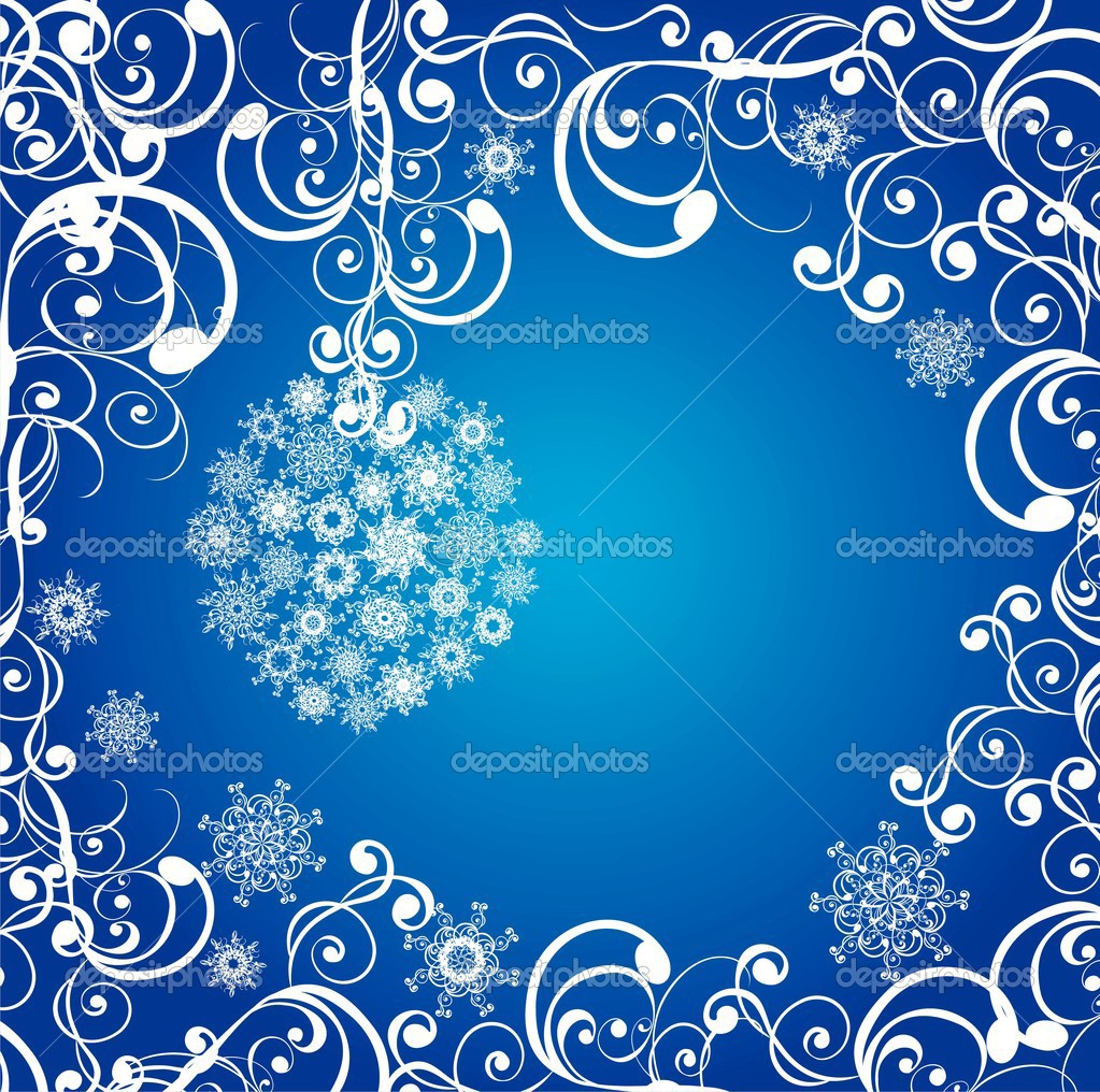 Christmas balls covered with snowflakes on a dark blue background.  — Stock Vector #12061139