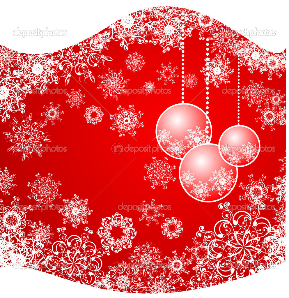 Christmas background with snowflakes and baubles  — Grafika wektorowa #12062252