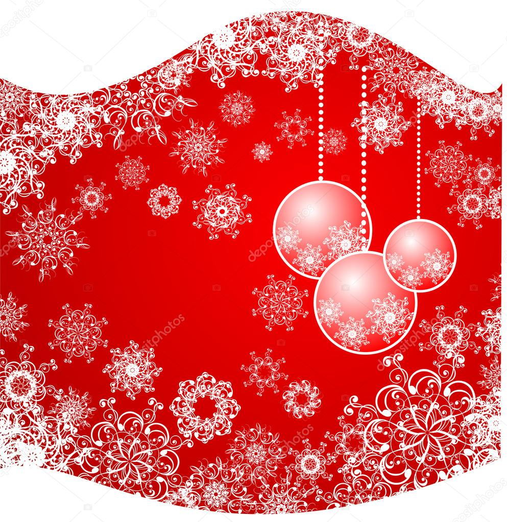 Christmas background with snowflakes and baubles  — Imagen vectorial #12062252