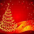 Christmas vector background with fancy tree — Vector de stock