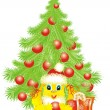 Christmas Bunny and christmas tree — Vector de stock #12077055