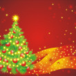 Christmas tree whit balls and garland on a red background — Vector de stock