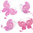 Set of pink butterflies — Stock Vector