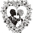 Silhouette of groom and bride with beautiful floral heart — Stock Vector