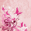 Vector floral ornament on dirty  pink background — Imagen vectorial