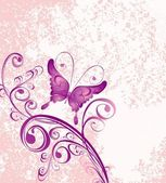 Vector floral ornament on dirty pink background — Vector de stock