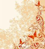 汚いオレンジ背景にベクトル花飾り — ストックベクタ