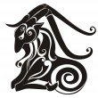 Tattoo Capricorn. Astrology sign. Vector zodiac - Imagen vectorial