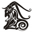 Tattoo Capricorn. Astrology sign. Vector zodiac - Stok Vektör