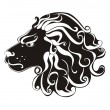 Tattoo Lion. Astrology sign. Vector zodiac Leo — Stock Vector