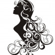 Astrology sign - Virgo. tattoo beauty girl with curling hair. - Stock Vector