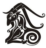 Tattoo Capricorn. Astrology sign. Vector zodiac — Vettoriale Stock