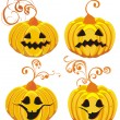 Set Halloween Pumpkins — Stock Vector