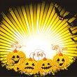 Halloween background with pumpkin and bats - Stock Vector