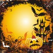 Halloween background with haunted house pumpkin and bats - Stock Vector