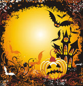 Halloween background with haunted house pumpkin and bats — Stock Vector