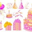 Sweet set for a birthday party, vector — Stock Vector