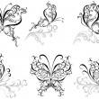 Set tattoo butterfly — Stock Vector