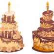 Chocolate birthday cake. Vector illustration - Stock vektor