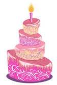 Vector illustration of sweet pink wedding cake isolated on a white — Stockvektor