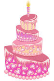 Vector illustration of sweet pink wedding cake isolated on a white — Vector de stock