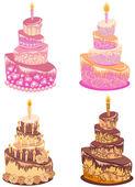 Set birthday cake. Vector illustration — Stock Vector