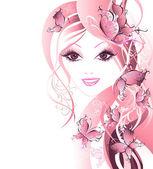 美丽的女人的头发的蝴蝶 — 图库矢量图片