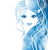 Vector Beautiful winter women with snowflakes in hair — Stock Vector