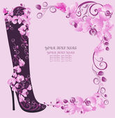Stiletto high heels decorated of flowers on a pink orchids background — Stock Vector
