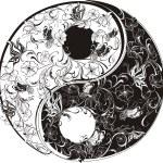 Floral Yin Yang Symbol — Stock Vector #12200473