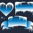 Collection of winter banners with icicles — Stock Vector
