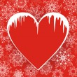 Christmas love. Winter banners heart with icicles against from snowflakes — Stock Vector
