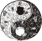 Floral Yin Yang Symbol — Stock Vector
