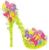 Los zapatos de un tacón alto adornado con flores y mariposas — Vector de stock
