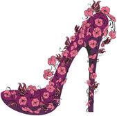 Chaussures sur un talon haut orné de fleurs et papillons — Vecteur