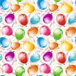 Royalty-Free Stock Vector Image: Birthday wallpaper. Party seamless background streamers and multicolored balloons