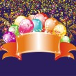 Festive fireworks and balloons. Birthday background — 图库矢量图片