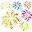 Brightly colorful vector fireworks — Stock vektor
