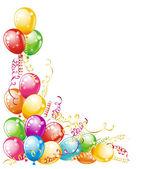 Carte d'invitation pour les anniversaires. conception de ballons — Vecteur