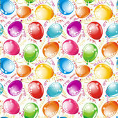 Birthday wallpaper. Party seamless background streamers and multicolored balloons — Stock Vector