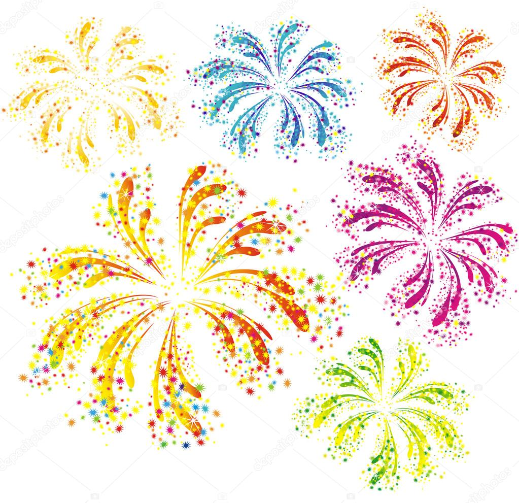 Brightly colorful vector fireworks isolated on white background   Stock Vector #12239591