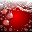 Christmas background with red evening balls — Stock Photo