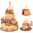 Set chocolate birthday cake with tea - Stok Vektör