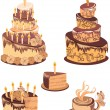 Set chocolate birthday cake with tea — Stock Vector