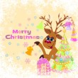 Royalty-Free Stock Vector Image: Christmas greeting card whit funny Reindeer