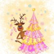 Christmas greeting card whit funny Reindeer — Vettoriali Stock